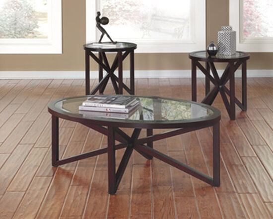Three-Piece Oval Contemporary Occasional Table Set in Dark Brown