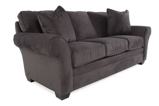"""Traditional 45"""" Rolled Arm Sofa in Gray"""