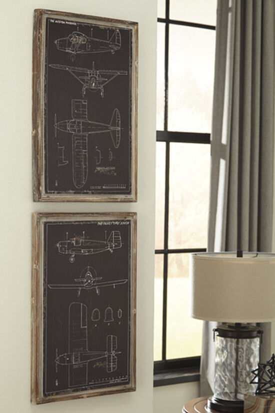 Two-Piece Airplane Blueprint Framed Wall Decor Set in Black