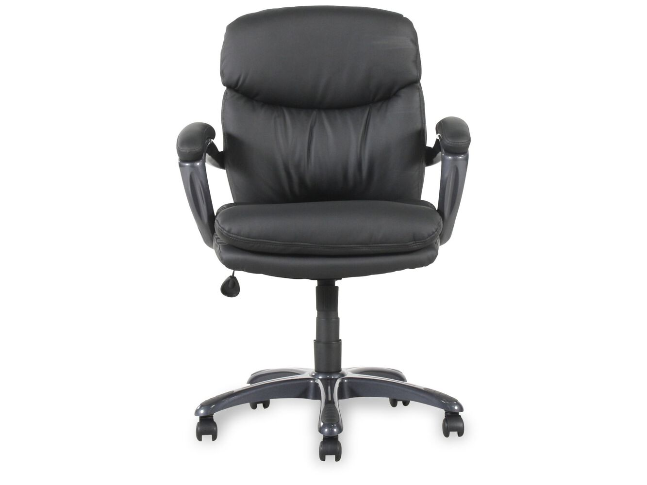 Padded Armrest Swivel Executive Chair In Black Mathis