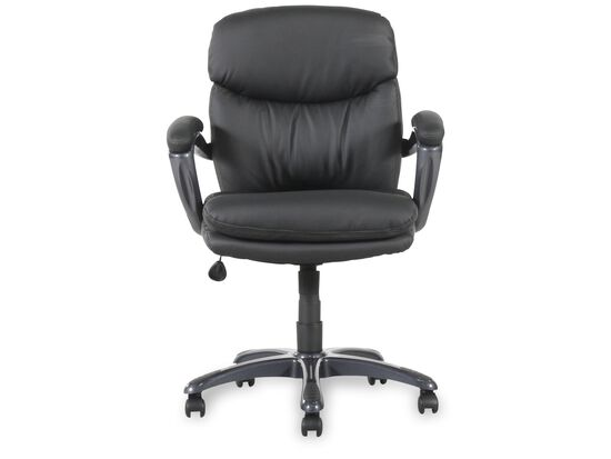 Padded Armrest Swivel Executive Chair in Black