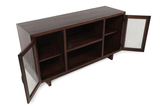 Glass Doors Mid-Century Modern Console in Dark Walnut