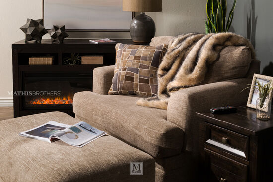 "Transitional 34"" Ottoman in Beige"