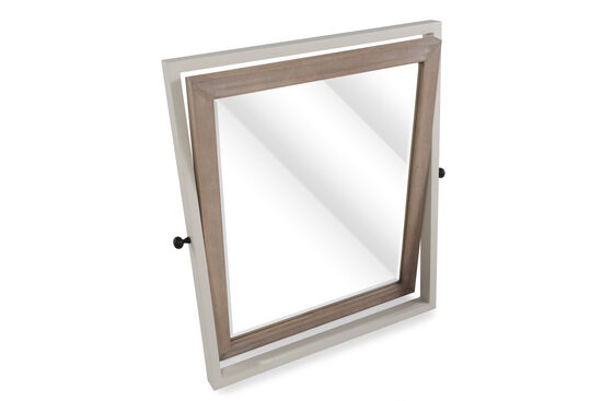 Beveled Contemporary Youth Tilt Mirror in Light White