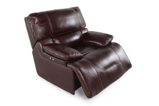 """Leather 43"""" Power Recliner in Cabernet"""
