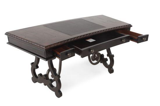 "66"" Scrolled Pedestal Base Traditional Writing Desk in Macchiato"