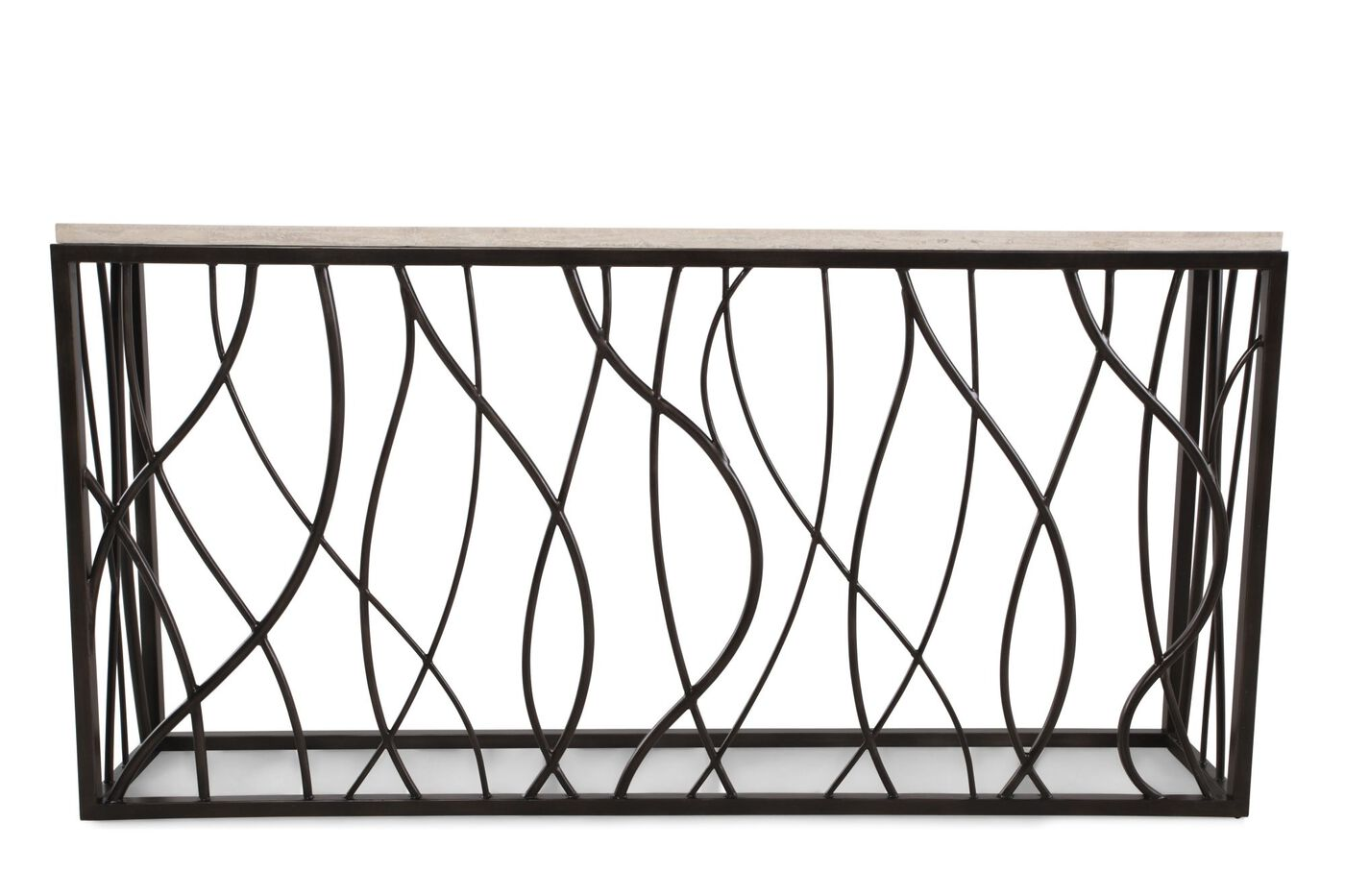 Woven Sides Transitional Console Table In Dark Bronze Mathis  ~ Transitional Sofa Tables