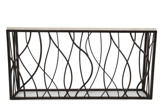 Woven Sides Transitional Console Table in Dark Bronze