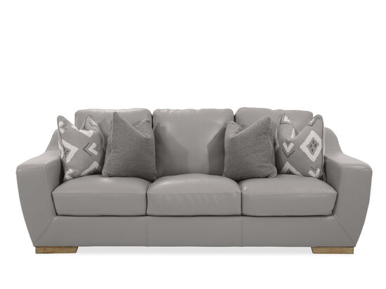 Straight Arm Leather Sofa in Grey