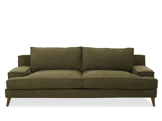 Modern Low-Profile Sofa in Forest Green