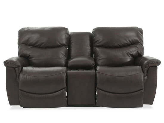 "Reclining Casual Leather 79"" Loveseat with Console in Brown"