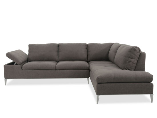 """Casual 74"""" Sectional in Charcoal"""