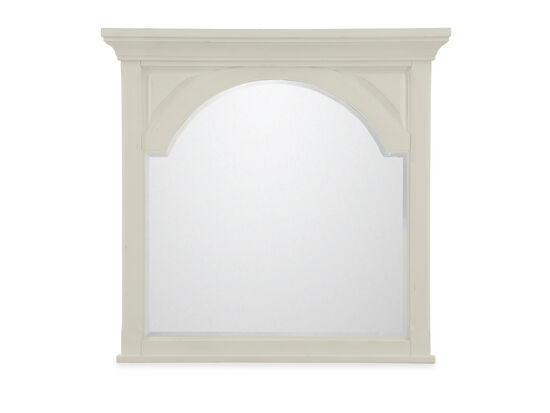 Arched Traditional Youth Mirror in Vintage White