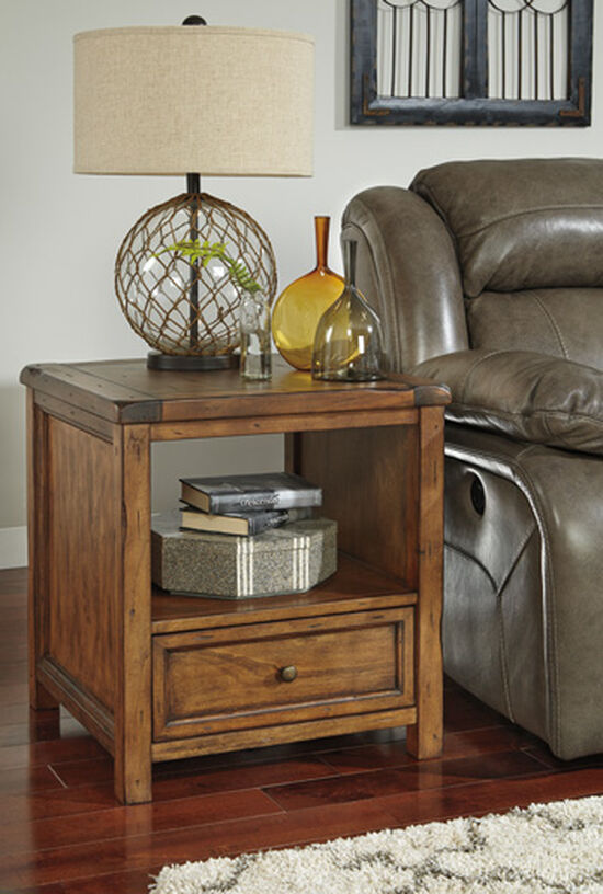 Square Casual End Table in Medium Brown
