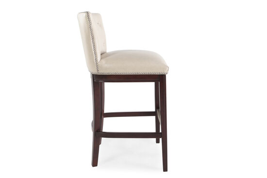 """Button Tufted 41"""" Pair of Bar Stools in Beige"""