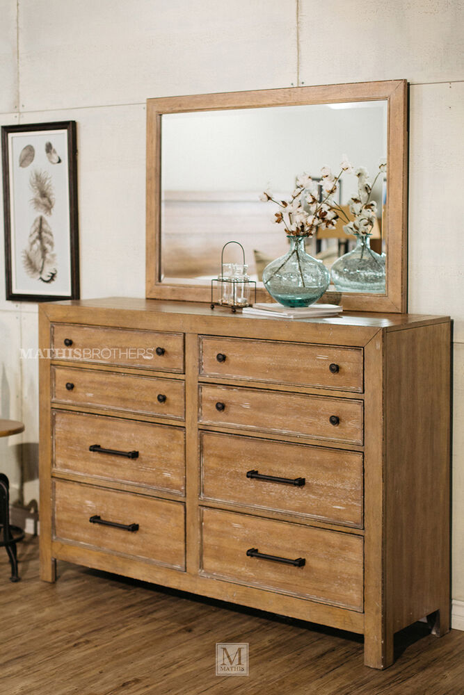 Two Piece Distressed Dresser And Mirror In Light Oak