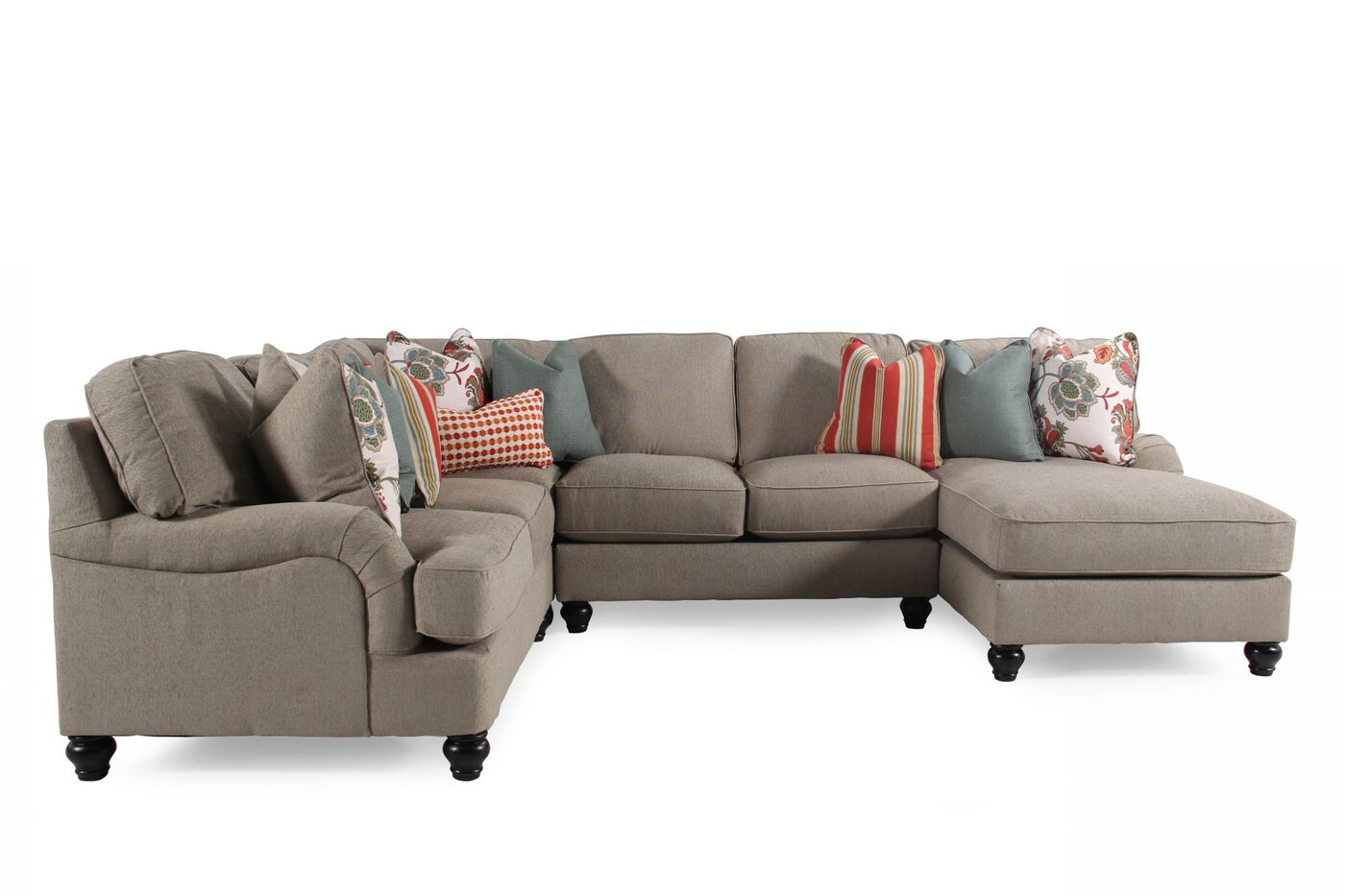 Transitional Sectional In Milk Chocolate Mathis Brothers