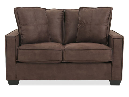 """Piecrust Welted Contemporary 60"""" Loveseat in Brown"""