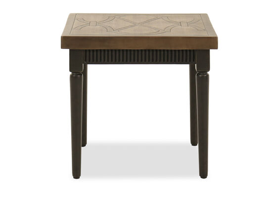 Lattice Motif Aluminum Square Side Table in Dark Charcoal