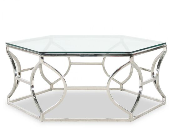 Hexagon Glam Cocktail Table in Stainless Steel