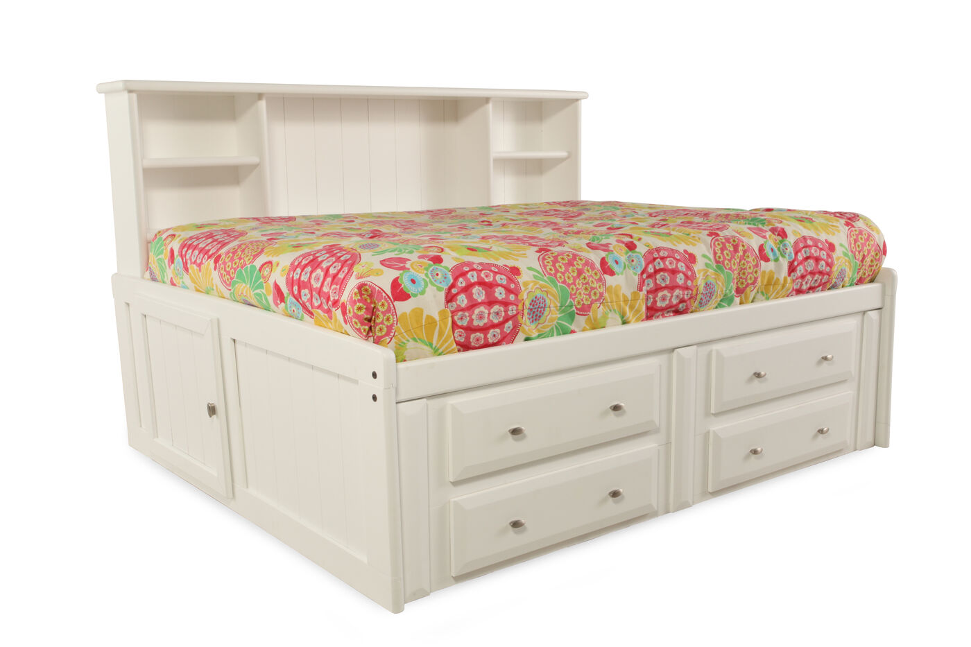 Solid Pine Youth Bookcase Bed with Storage Drawers in ...