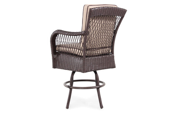 Weather-Resistant Contemporary Swivel Bar Stool in Brown