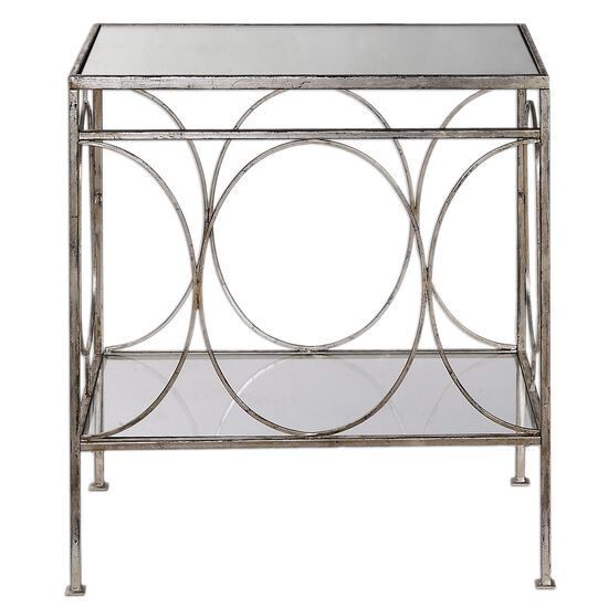 Forged Base End Table in Antique Silver
