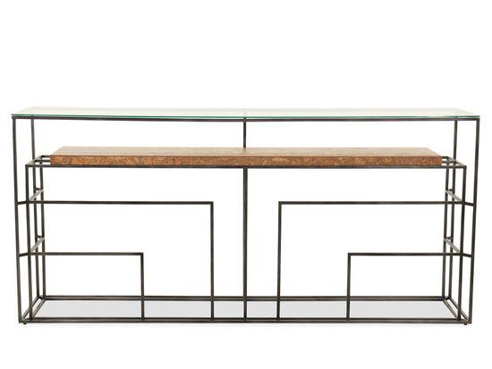 Casual Rectangular Glass Top Sofa Table in Gray