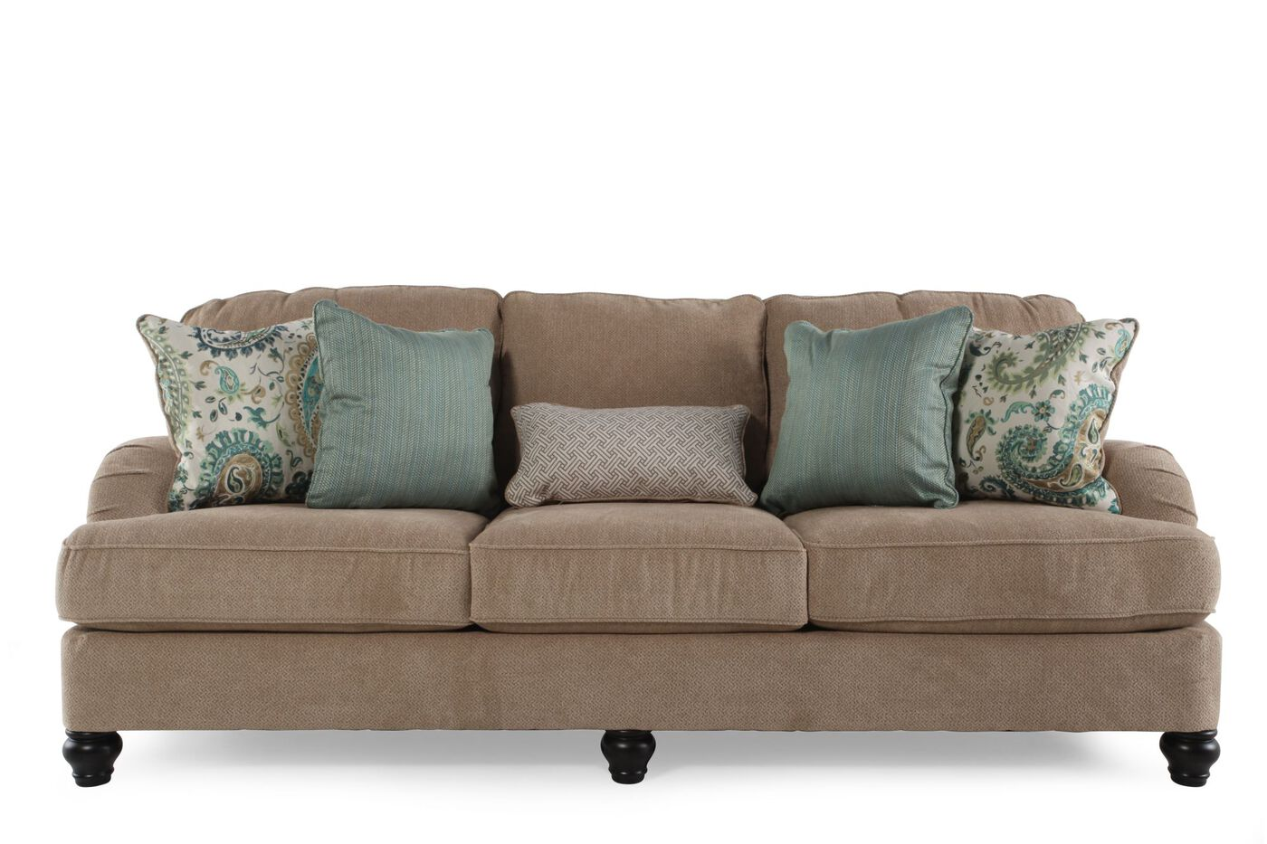 Casual textured 92 sofa in bisque mathis brothers furniture for Casual couch