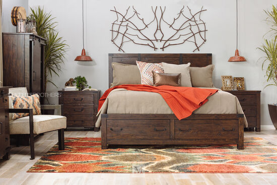 """58"""" Industrial Planked Panel Storage Bed in Rustic Pine"""