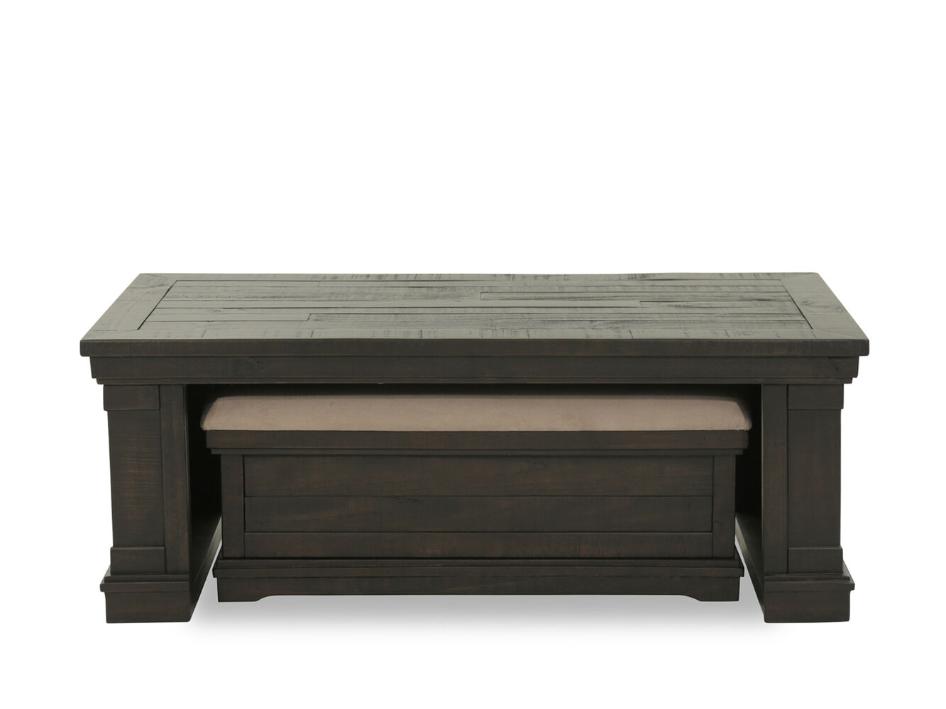 Plank top solid wood cocktail table set in brown mathis for Wood plank top coffee table