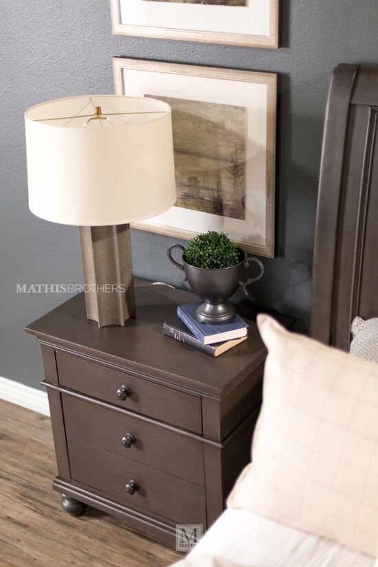 "30"" Transitional Two-Drawer Nightstand in Peppercorn Gray"