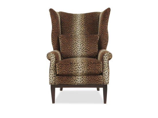 "Leopard Printed Traditional 32"" Wing Chair"