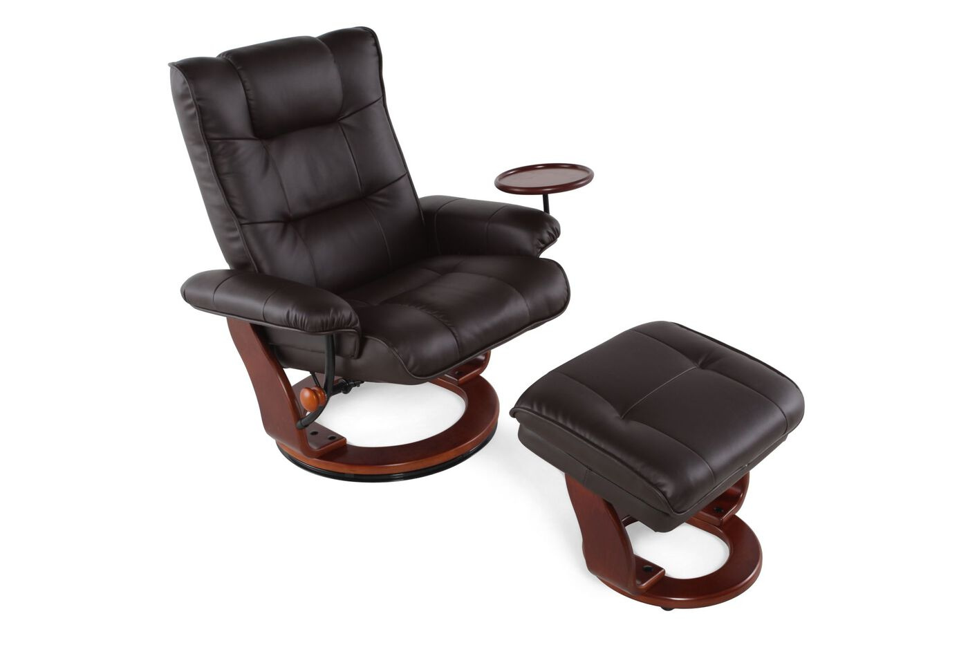 contemporary  swivel reclining chair . contemporary  swivel reclining chair and ottoman in brown