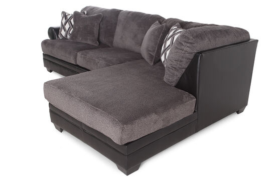 """Two-Piece Microfiber 123"""" Sectional in Gray"""