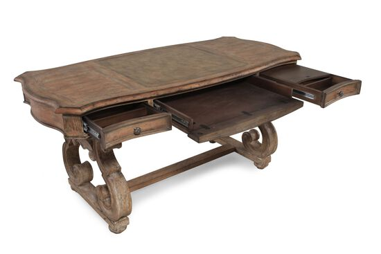 "66"" Traditional Scrolled-Leg Writing Desk in Brown"