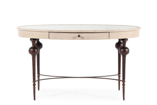 "53"" Transitional Oval Writing Desk in Cream Glaze"