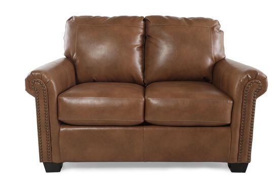 "Nailhead Accent Transitional 58"" Twin Sleeper Loveseat in Almond Brown"