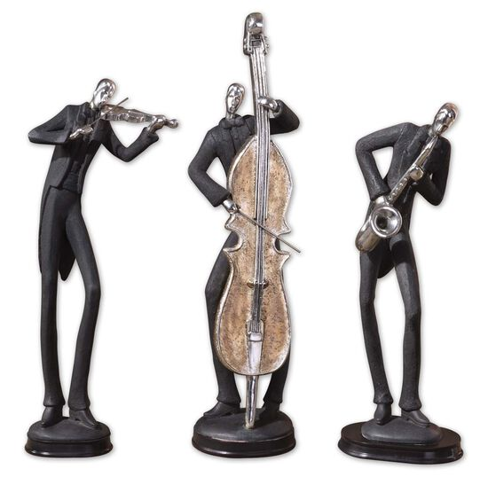 Three-Piece Musicians Decorative Figurines in Slate Gray