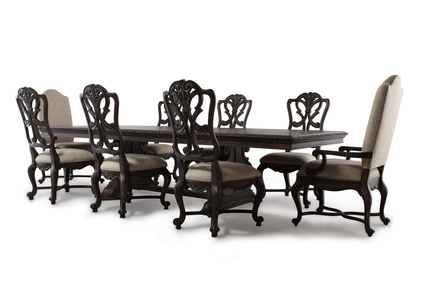 Nine Piece Formal Rectangle Extension 88  39   39  to 128. Nine Piece Formal Rectangle Extension 88   to 128   Dining Set in