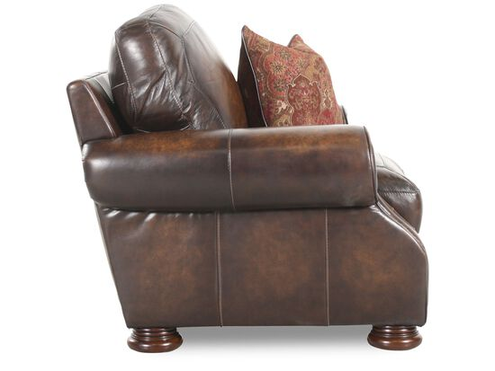 "Nailhead-Trimmed Leather 47"" Chair in Brown"