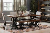 "Casual 40"" Solid Acacia Rectangular Dining Table in Dark Black"