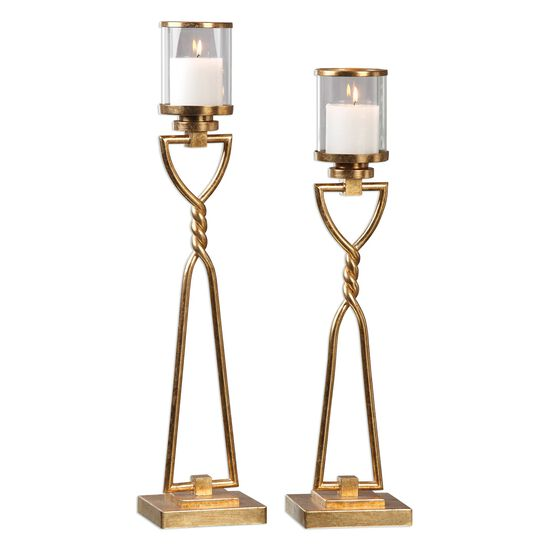 Two-Piece Twisted Candle Holder Set in Antique Gold Leaf