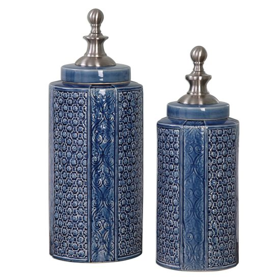 Two-Piece Patterned Urns in Sapphire Blue
