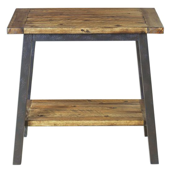 Textured Leg Square Side Table with Gallery Shelf in Gray
