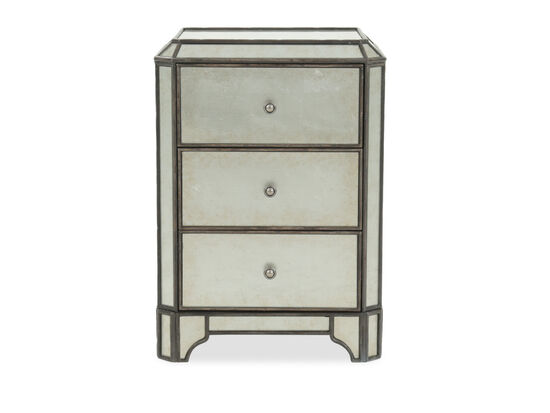 "32"" Glam Eglomise Accented Three-Drawer Nightstand in Light Silver"
