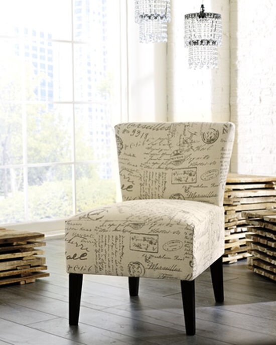 "Script Printed Contemporary 23"" Accent Chair in Cream"