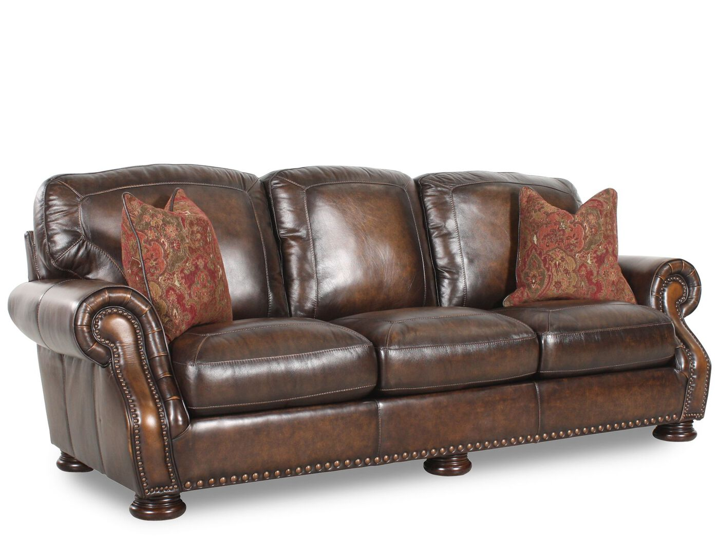 Mathis Brothers Leather Sofas Leather Rolled Arm 88 Sofa ...