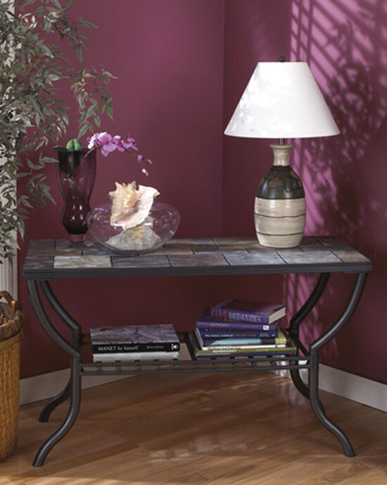 Tiled Top Transitional Sofa Table in Black