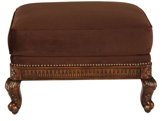 "Nailhead Accented Traditional 32"" Ottoman in Brown"